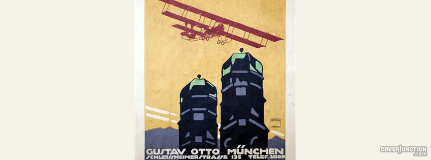GUSTAV OTTO MUNCHEN vintage aviation poster facebook cover