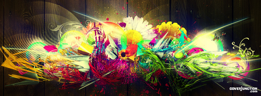 Fluorescent Peacock Facebook Cover - CoverJunction