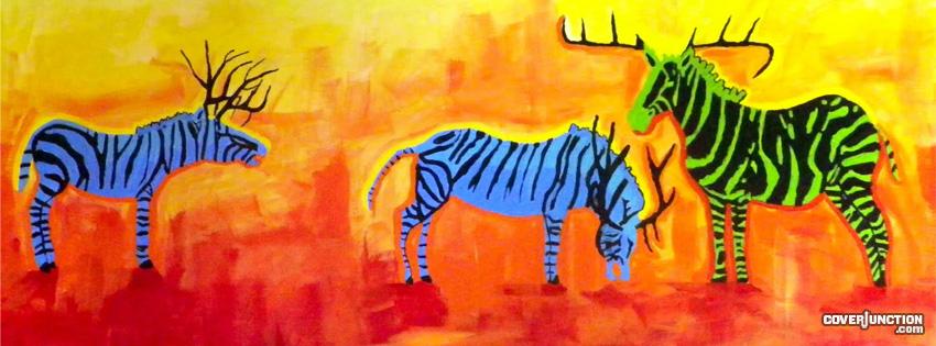 Colorful Zebras facebook cover