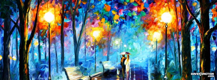A Rainy Night - romantic oil painting with lovers  facebook cover