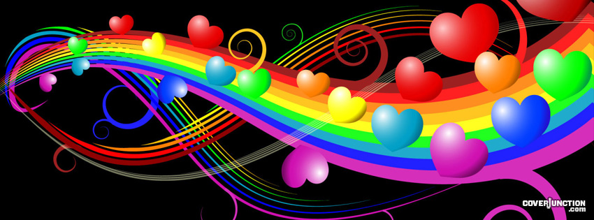 Heart Rainbow Facebook Cover - CoverJunction