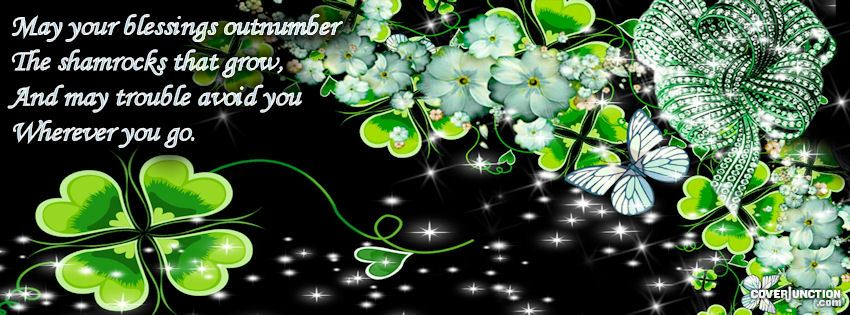 St. Patty's Day Shamrocks Four leaf clover Blessings facebook cover