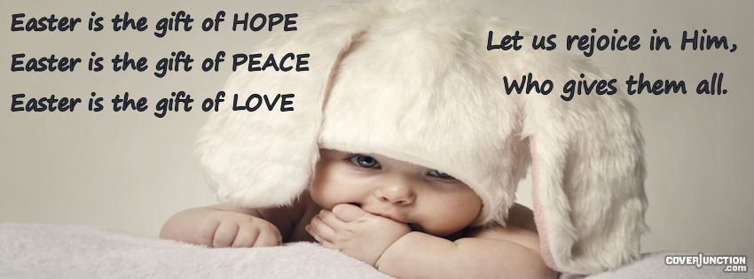 Cute Easter Baby Hope, Peace, and Love facebook cover